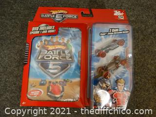 NIB Hot Wheels  Battle 5 Force DVD & 2 Cars