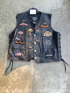 """""""LIVE TO RIDE"""" LEATHER MOTORCYCLE VEST! WITH GREAT PATCHES!"""