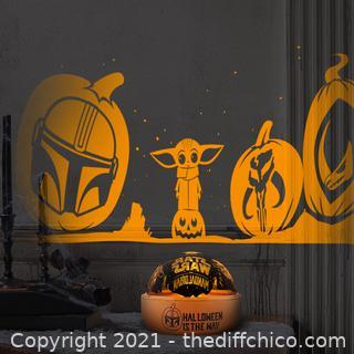5 in. Orange Star Wars Mandalorian Halloween Tabletop Shadow Lights