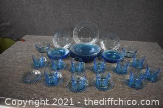 45 Pieces of Fostoria Blue Dishes