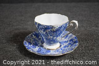 Vintage Blue and White Cup and Saucer Set