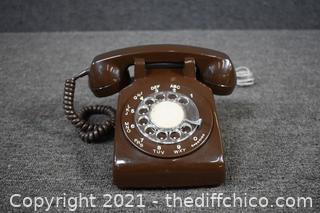 Vintage Brown Rotary Telephone