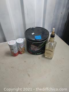 Jack Denials oil lamp and tins