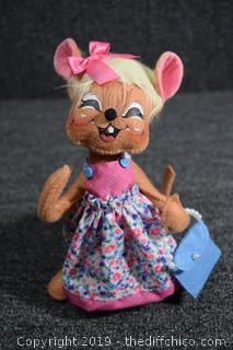 ANNALEE 'Springtime' Girl Mouse w/ Happy Face, Bendable and Pink Ribbon