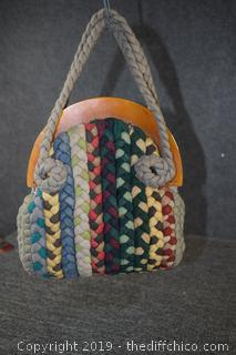 Vintage Woven Hand Bag Purse with Bakelite Handle