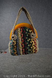 Vintage Woven Hand Bag Purse with Bakelite Handle