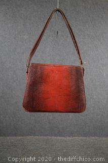 Vintage Ruby Red Lizard Hand Bag Purse