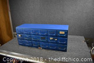 18 Drawer Blue Metal Organizer