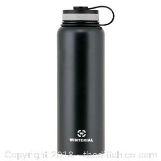 Black 40oz insulated hot and cold water bottle