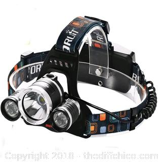 5000 Lumen Led Headlamp Bright Headlight Head Flaslight Torch 3 XM-L2 LED with Rechargeable Batteries