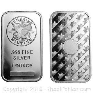 Sunshine Mint 1 Ounce Fine .999 Silver NO RESERVE