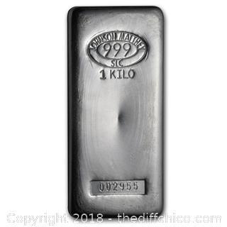 1 Kilo Silver Bar - Solid .999 % Silver - Low Reserve