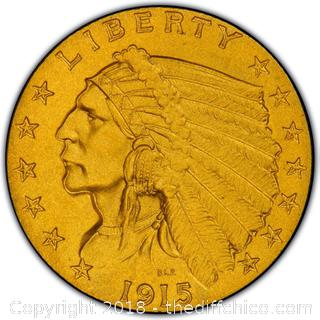 1915 Gold $2.5 Dollar - Gold - Uncirculated Gold Coin