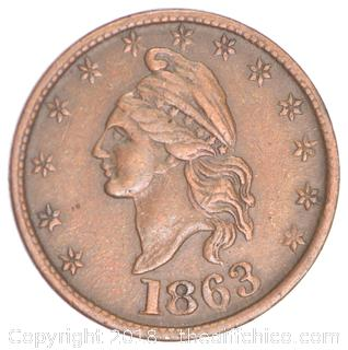 1863 Civil War Token Coin