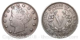 1908 Liberty Silver V Nickel
