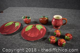 9 Pieces of Vintage Franciscan from Portugal Apple Pattern & More