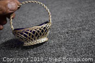 Cobalt Blue Glass Basket