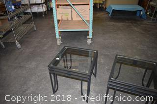 Wrought Iron Glass Top End Tables
