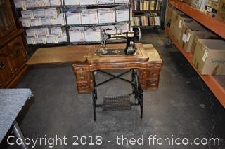 White Sewing Machine in Vintage Oak Cabinet