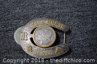 Wild Horse Ranch Belt Buckle w.1921 Morgan Dollar