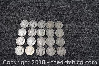 20 Mercury Head Dimes-90% Silver