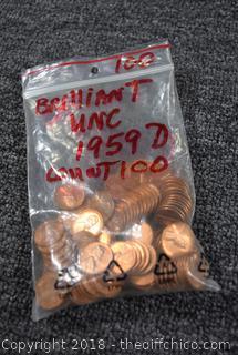 100 - 1959-D Brilliant Un-Circulated Pennies