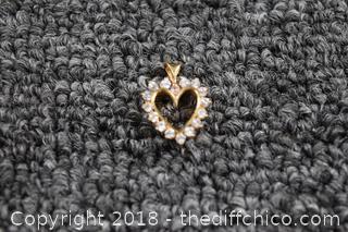 14k Gold Heart Shaped Pendant w/Real Diamonds