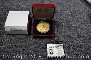 Dennis Rodman Bronze Coin w/Yellow Hair
