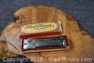German Silver Thread Harmonica w/Box