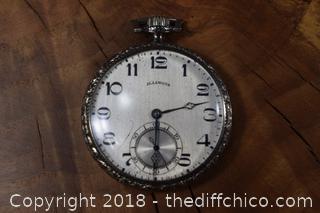 Illinois 14k Working White Gold Filled Pocket Watch