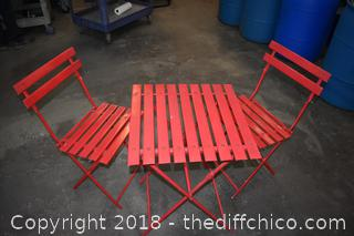 Folding Red Table w/2 Red Chairs