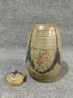 "Pottery with Lid -  9"" Tall"