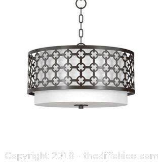 "Park Harbor PHHL6033ORB 19"" Wide 3 Light Single Tier Drum Style Chandelier with Patterned Metal"