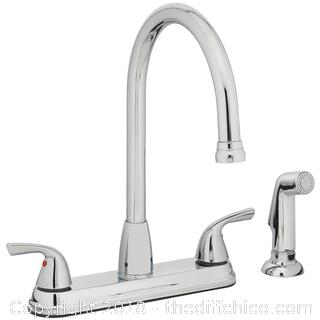Project Source Chrome 2-Handle High-arc Kitchen Faucet with Side Spray