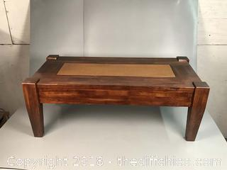 Robust World Market Coffee Table with Peened Copper Inset