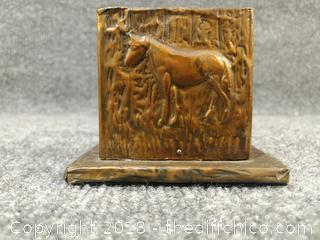"""Vintage Hand Crafted """"Matchbox Safe"""" Wooden Box Covered with Cooper Sheeting from the Arts and Crafts Era - 3.5"""" Tall"""