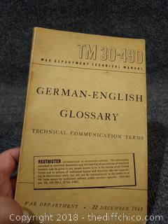 1943 War Department German-English Glossary