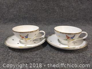 Eastern Star Women's Mason's 2 Teacups and 2 Saucers - Vintage