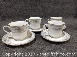 Christine Blue Flowered Pattern Porcelain China - 4 Cups/4 Saucers