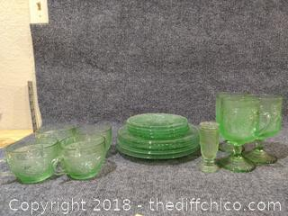 16 Piece Vintage Green Glass