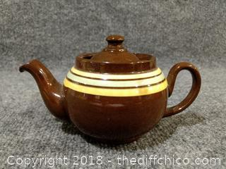 Vintage 1 Cup Brown Stripe Teapot - Made in England - 21B0