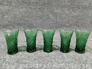 5 Vintage Green Shot Glasses