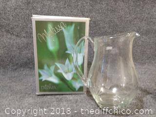"Etched Glass Melissa Pitcher 9.5"" Tall"