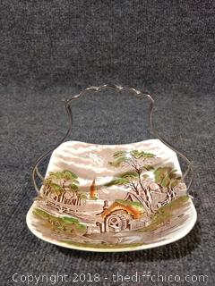 """Rural England"" W.R. Midwinter LTD England Dish with Metal Handle"