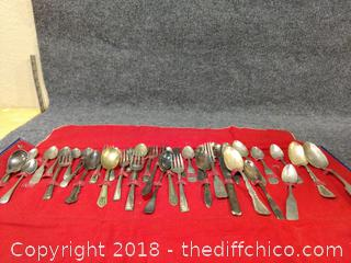 38 Misc Silver/Silver Plated Spoons and Forks with Case