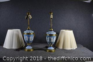 "Pair of Wedgewood Lamps ""as is"" w/Shades"