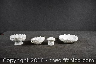 4 Pieces of Hobnail Milk Glass