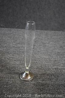 Crystal Vase w/Sterling Silver Bottom