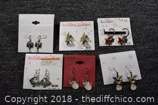 6 Pair of New Costume Jewelry Earrings