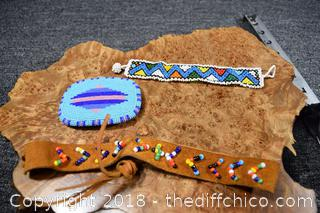 Beaded Belt Buckle, Headband and Bracelet